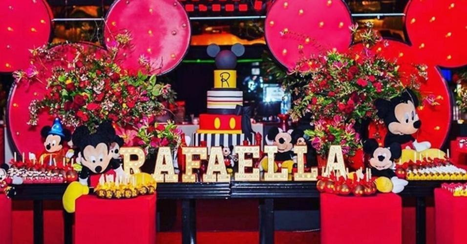 Detalhe da decoração da festa de aniversário de Rafaella, irmã de Neymar