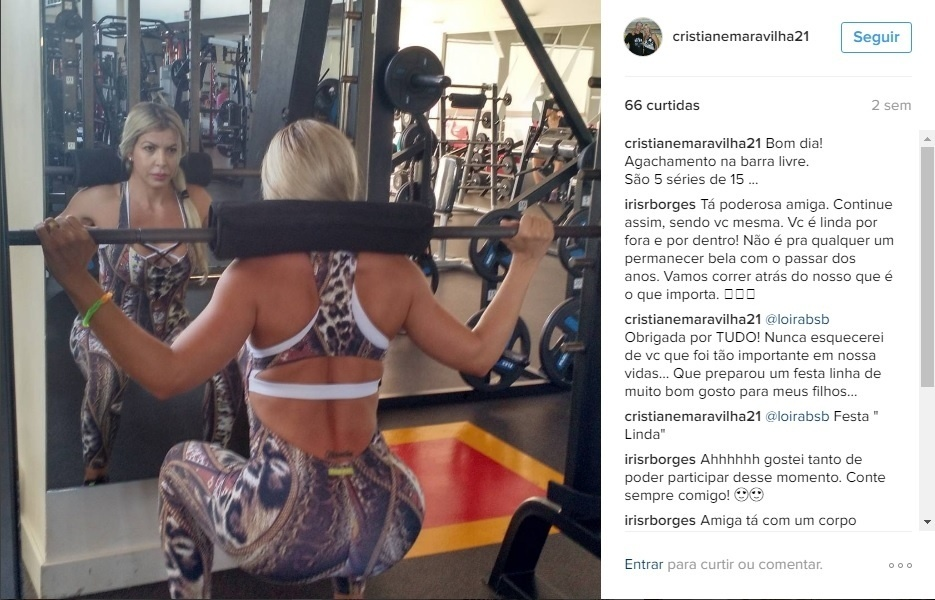 Cristiane disse que depois das fotos várias alunas da academia onde malha foram perguntar o segredo para manter a forma