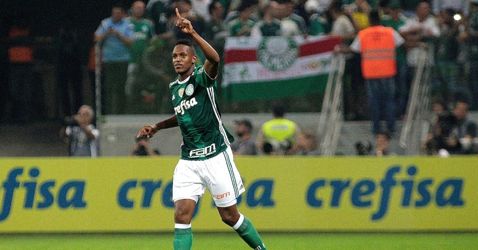 Mina festeja gol do Palmeiras contra o Santos