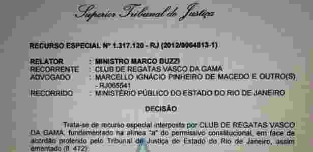 Decisão publicada no site do STJ desfavorável ao Vasco - Divulgação / Site do STJ - Divulgação / Site do STJ