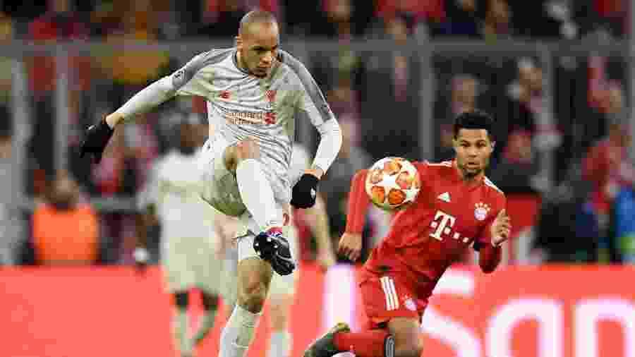 Fabinho contra o Bayern de Munique nas oitavas de final da Liga dos Campeões - Andreas Gebert/Reuters