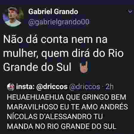 Twitter do goleiro Chapecó, do Grêmio, com ofensas a D'Alessandro - Rerodução - Rerodução