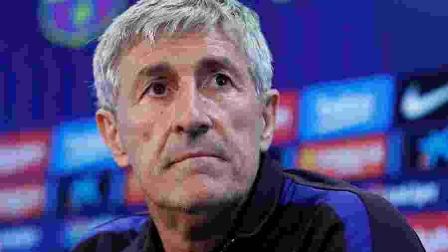 Quique Setien, técnico do Barcelona, em entrevista coletiva - Albert Gea/Reuters