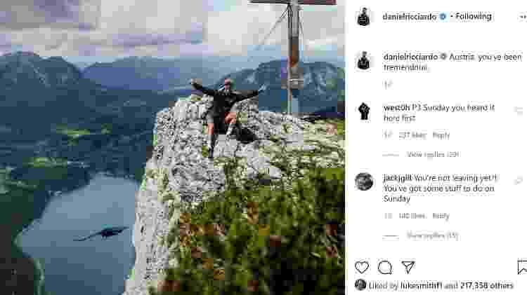 ricciardo montanha - Instagram/Reprodução - Instagram/Reprodução
