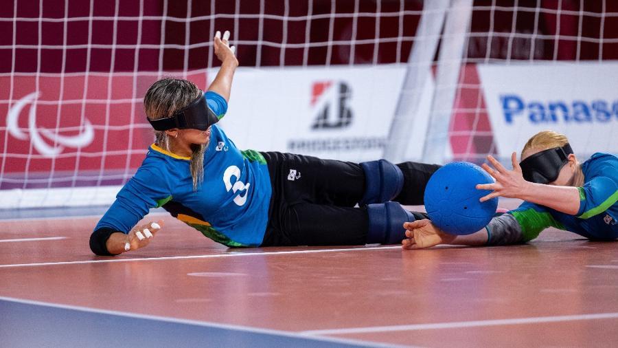 Jogadoras brasileiras na disputa do bronze do goalball feminino nas Paralimpíadas 2020 - OIS/Simon Bruty