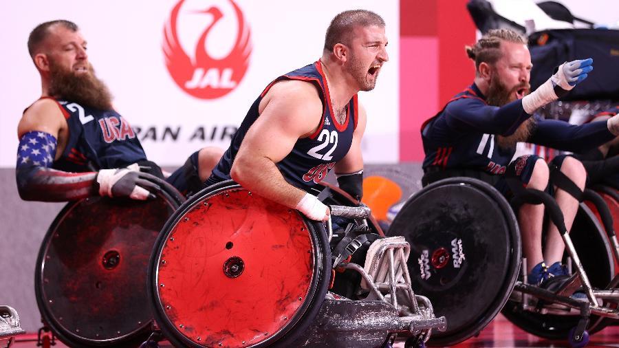 Kory Puderbaugh, do rúgbi em cadeira de rodas dos Estados Unidos - Alex Pantling/Getty Images