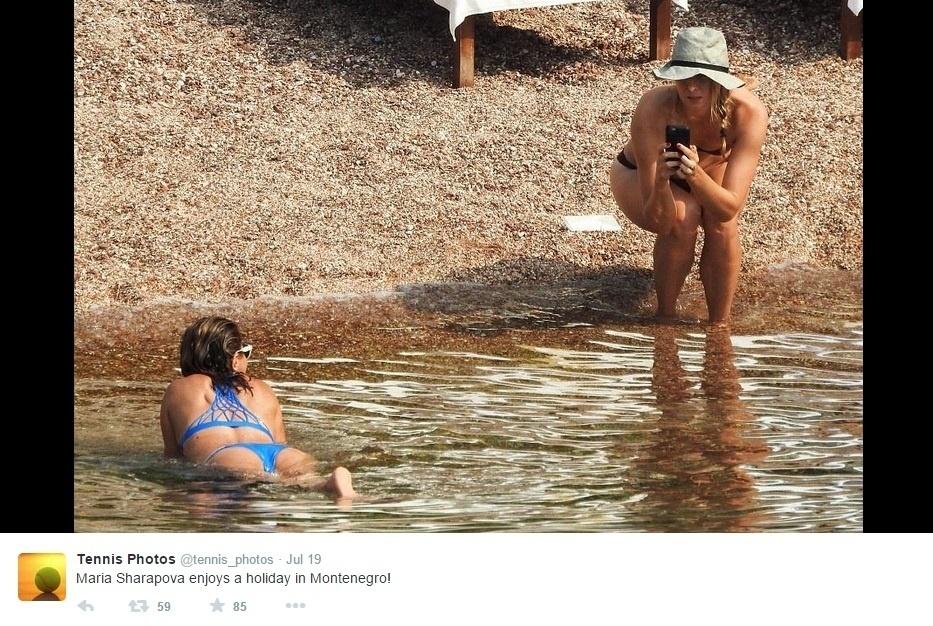 A russa Maria Sharapova curtiu as férias de verão no litoral de Montenegro