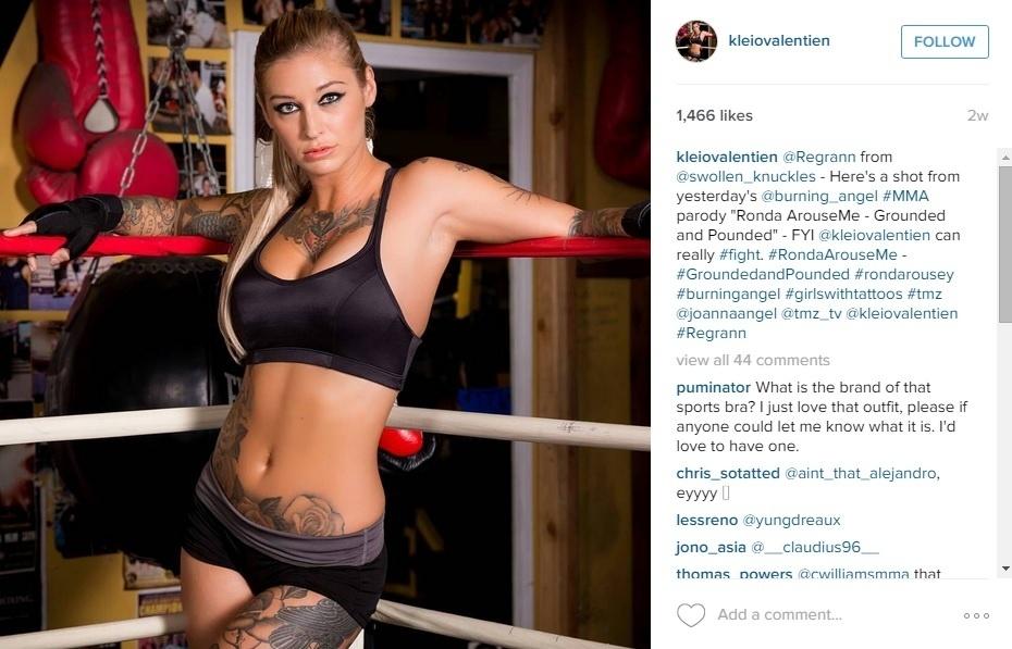 Kleio Valentien posa personalizada como Ronda Rousey para filem pornô