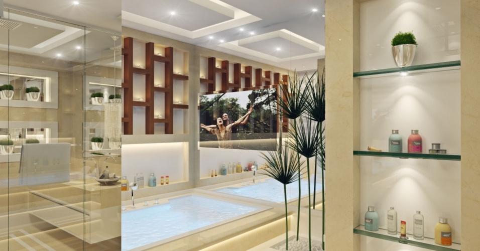 Banheiro da mulher de Diego Alves com uma banheira