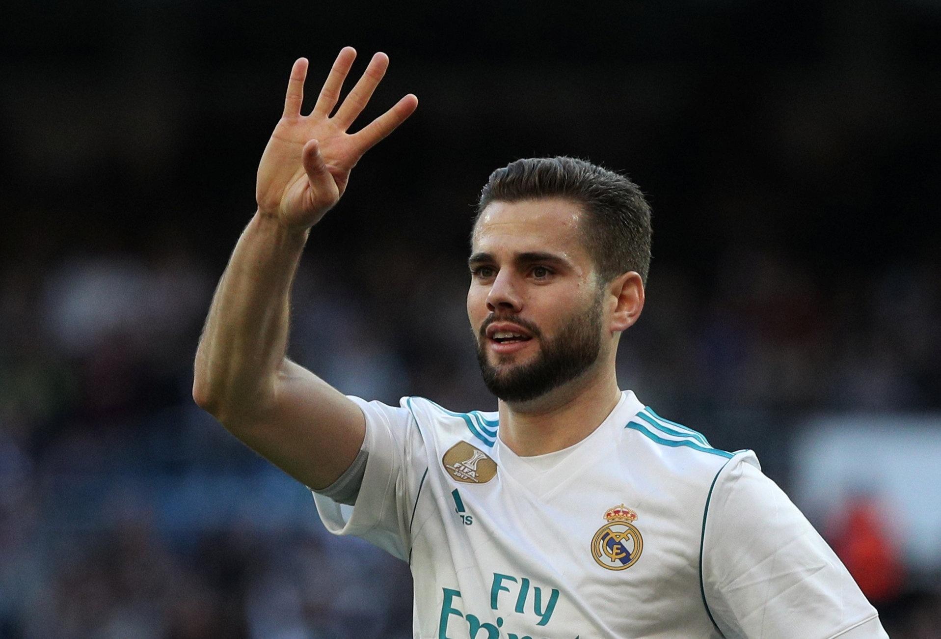 Nacho celebra após marcar para o Real Madrid contra o La Coruña