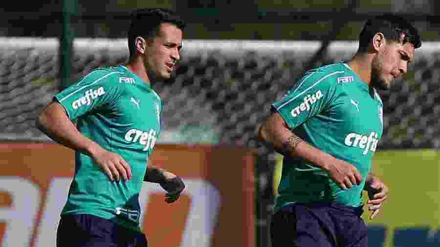 Luan e Gustavo Gómez em treino do Palmeiras - Cesar Greco/Ag. Palmeiras/Divulgação