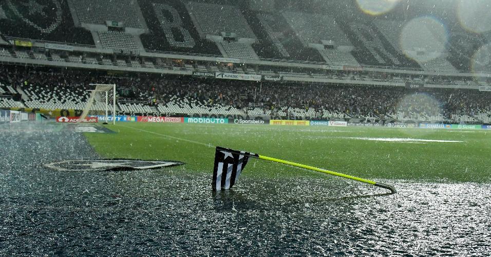 Fortes chuvas interrompem jogo entre Botafogo e Resende