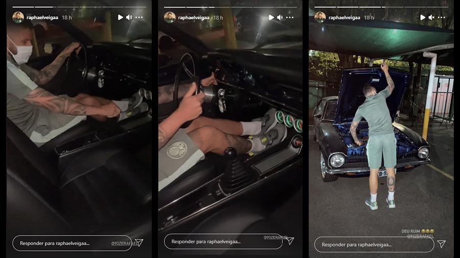 Raphael Veiga brinca com carro de Zé Rafael - Reprodução/Stories/Instagram