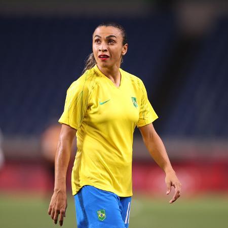 Marta na partida da seleção brasileira contra Zâmbia nas Olimpíadas de Tóquio - REUTERS/Molly Darlington