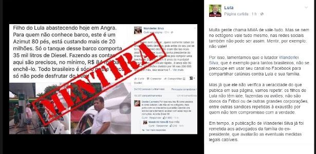 Lula rebate postagem de Wanderlei Silva - Reprodução