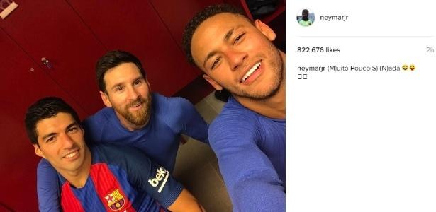Neymar posta foto com Messi e Suárez e rebate imprensa