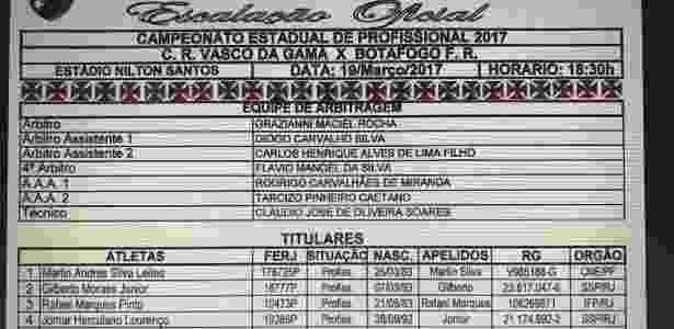No documento do Vasco, Jomar aparece com a 4, embora tenha jogado com a 3 - Divulgação Ferj - Divulgação Ferj