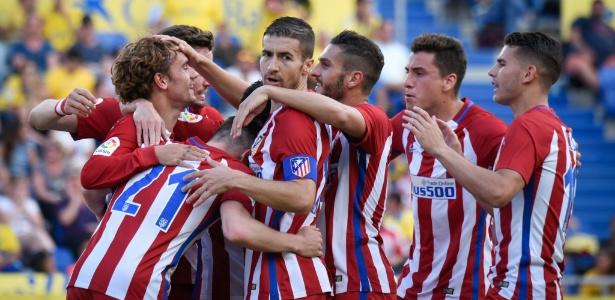 Jogadores do Atlético de Madrid comemoram goleada sobre o Las Palmas