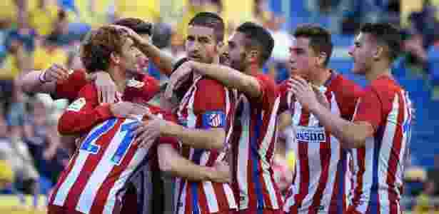 Jogadores do Atlético de Madrid comemoram goleada sobre o Las Palmas - Desiree Martin/AFP Photo