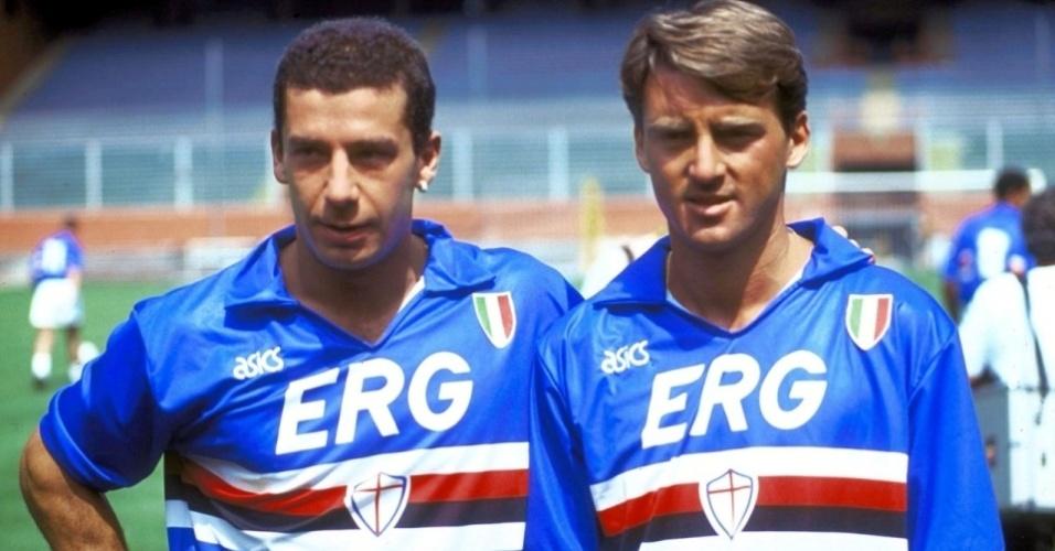 Vialli e Mancini eram pilares do time mais forte da história da Sampdoria