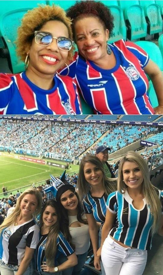 Torcedoras de Bahia e Grêmio em montagem que circula no WhatsApp