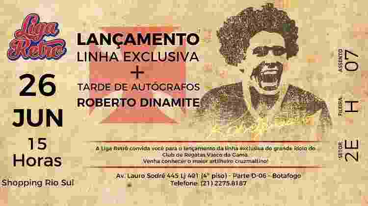 Vasco divulgou em seu site o lançamento da linha de produtos personalizada de Roberto Dinamite - Divulgação / Vasco.com.br