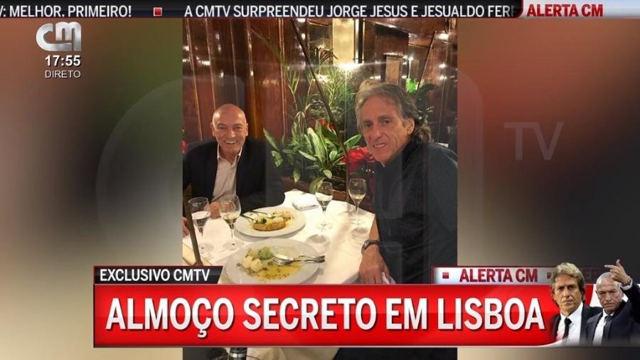 Flamengo e Santos: Jesus e Jesualdo Ferreira almoçam juntos em Lisboa - reprodução/CMTV
