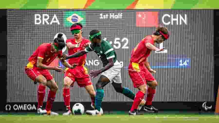 Jogo de Futebol de 5 (para cegos), entre Brasil e China, pela semifinal dos Jogos Paralímpicos do Rio-2016 - Marcio Rodrigues/MPIX/CPB