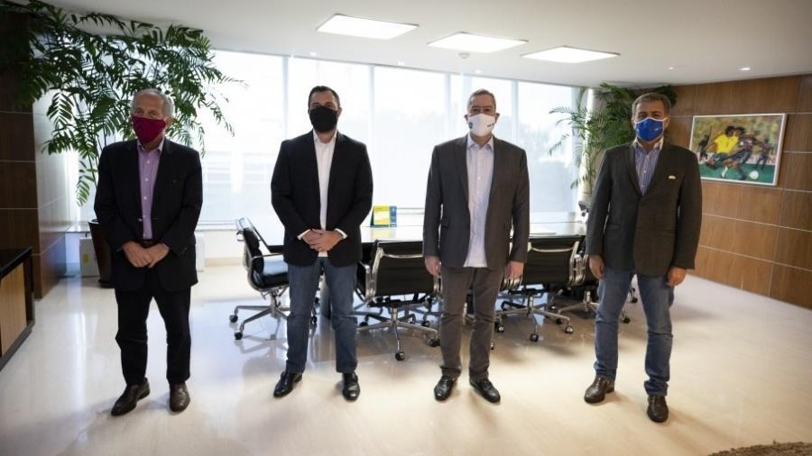 Walter Feldman, Rogério Caboclo, Mário Bittencourt e Marcelo Penha na sede da CBF, na Barra da Tijuca  - Lucas Figueiredo/CBF