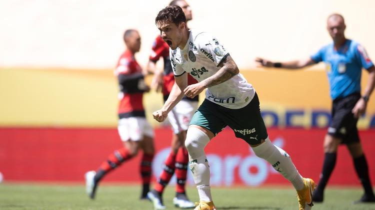 Raphael Veiga, do Palmeiras, comemora segundo gol diante do Flamengo pela Supercopa do Brasil - Lucas Figueiredo/CBF - Lucas Figueiredo/CBF