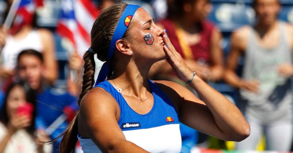 A porto-riquenha Monica Puig comemorou o bronze no tênis com beijos para a torcida