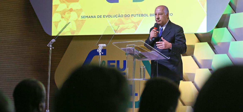 Marco Polo Del Nero em seminário na sede da CBF; dirigente não deve repetir procedimento da Copa do Mundo - Ricardo Stuckert/CBF
