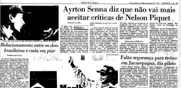 Matéria da Folha de S. Paulo sobre desentendimento entre Ayrton Senna e Nelson Piquet, de 19 de fevereiro de 1987 - Reprodução - Reprodução