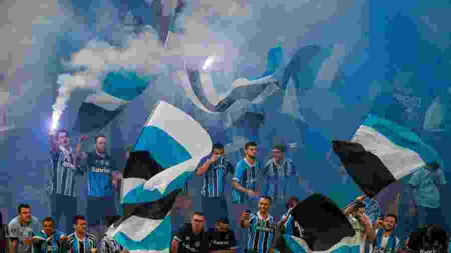 Torcida do Grêmio esgotou entradas para visitantes em duelo contra o Flamengo - LUCAS UEBEL/GREMIO FBPA