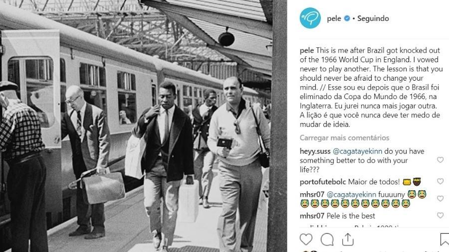 Pelé escreve mensagem sobre Copa de 1966 - Reprodução