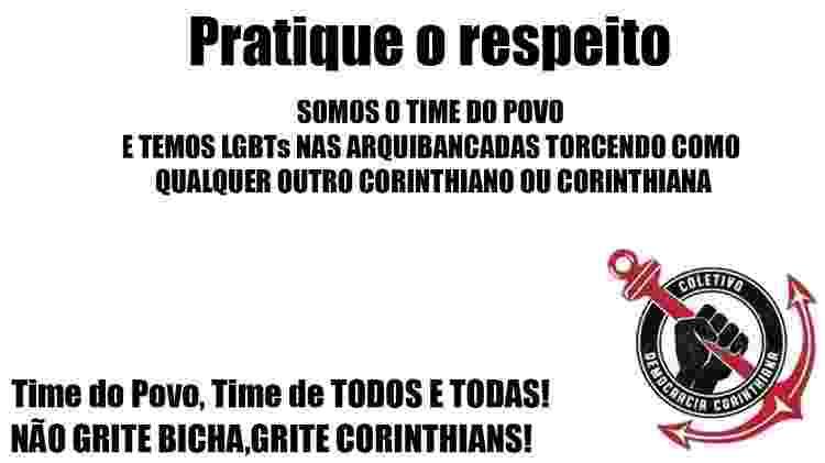 Campanha de torcedores pede que gritos homofóbicos fiquem fora da decisão do Paulista - Reprodução