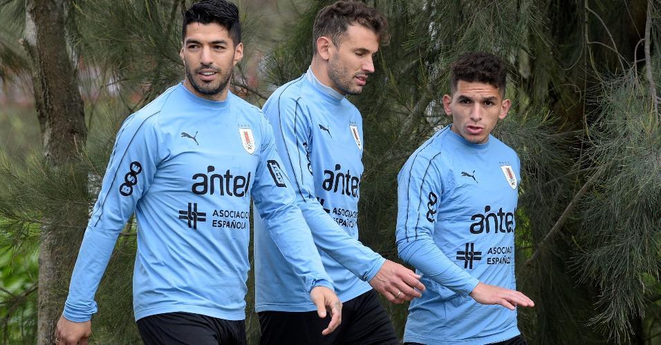 Luis Suárez, durante treino do Uruguai