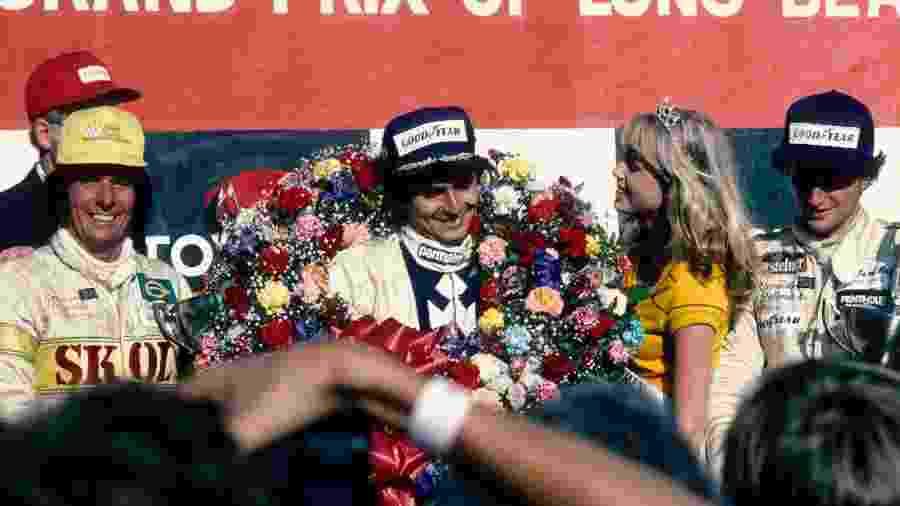 GP de F1 de Long Beach (EUA): Emerson Fittipaldi, Nelson Piquet e Riccardo Patrese no pódio - Hoch Zwei/Corbis via Getty Images