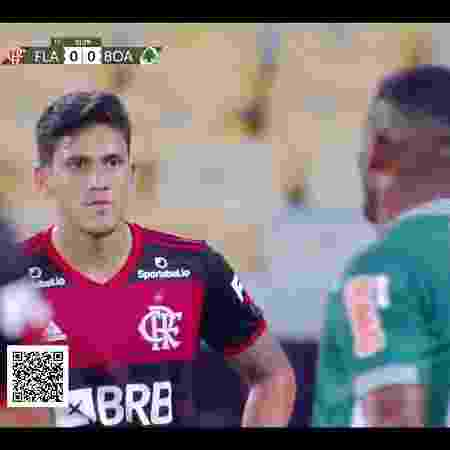 Atacante Pedro em Flamengo x Boavista, jogo com transmissão da FlaTV - Reprodução
