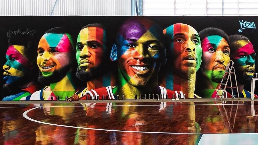 Mural feito por Kobra na quadra de basquete de Neymar - Reprodução/Instagram