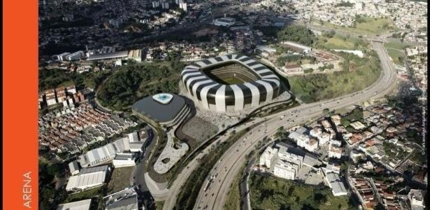 Projeção de que como vai ser o estádio do Atlético-MG, no bairro Califórnia, em Belo Horizonte - Reprodução