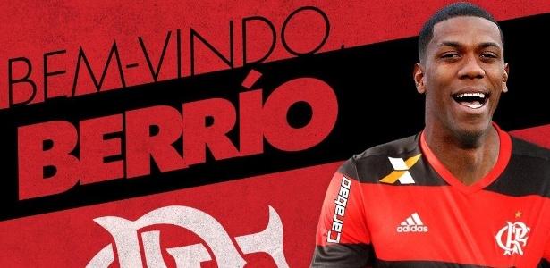 Berrío foi anunciado com uma montagem nas redes sociais do Flamengo
