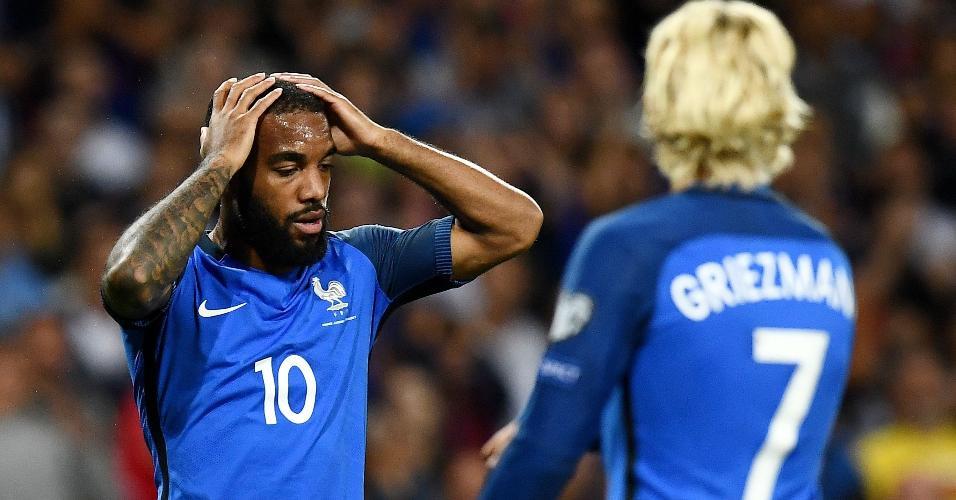 Lacazette lamenta uma chance perdida para a França contra Luxemburgo