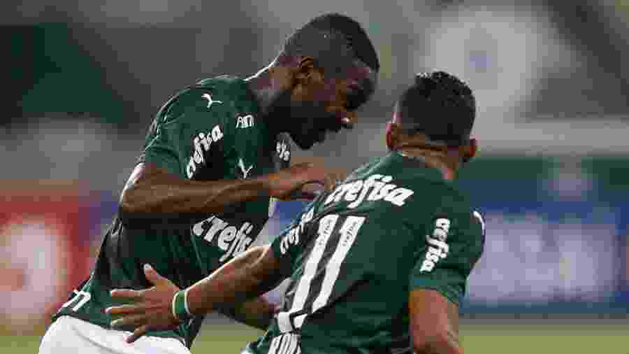 Patrick de Paula comemora gol pelo Palmeiras no Paulistão: jovem teve passagem pelo Botafogo - Cesar Greco/SE Palmeiras