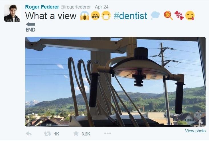 Até ida ao dentista vira motivo para Roger Federer postar imagem no Twitter acompanhada de vários emojis