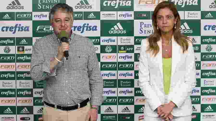 Paulo Nobre, ex-presidente do Palmeiras, e Leila Pereira, dona da Crefisa e da FAM, em 2016 - Cesar Greco/Ag Palmeiras