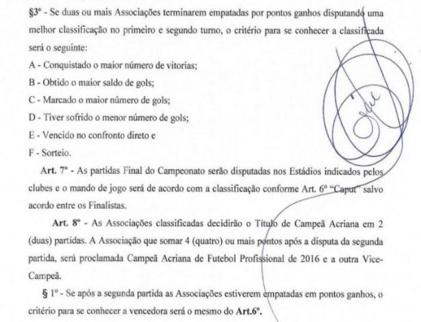 Regulamento do Campeonato Acreano de 2016, que pode ser decidido no sorteio