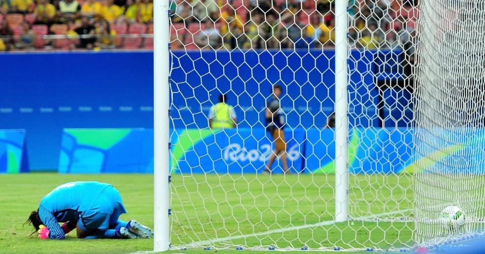 Que frango! Hope Solo, dos Estados Unidos, lamenta gol tomado da equipe colombiana