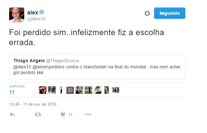 Alex admite que fez escolha errada na final do Mundial 1999, entre Palmeiras e Manchester United