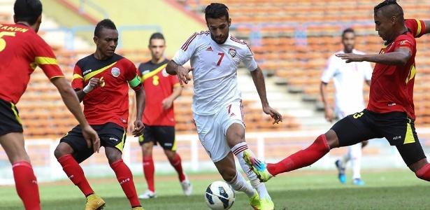 Eliminada da Copa da Ásia 2019, seleção do Timor Leste (camisas vermelhas) está fora das eliminatórias para competição de 2023